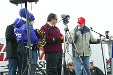 Bill and Ken emcee the Polar Pout Plunge in 2010