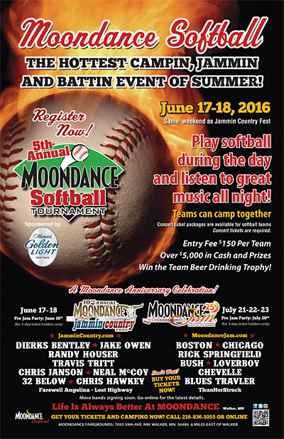 2nd Annual Moondance Softball Tournament Poster